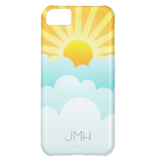 A Sunny Day Sun Rays with Sky Blue Clouds Monogram iPhone 5C Case