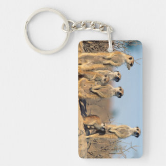 A Suricate family sunning themselves at their den Double-Sided Rectangular Acrylic Keychain