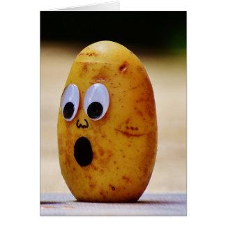 A surprised potato blank card