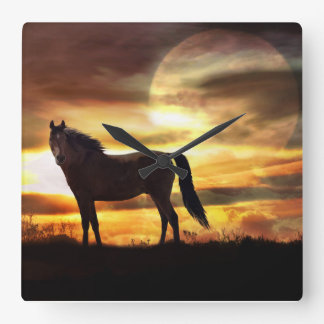 A surreal horse and moon clock