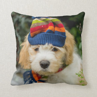 A Sweet Cavachon Puppy In A Winter Hat And Scarf Throw Pillow