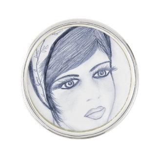 A Sweet Flapper in Dusky Blue Lapel Pin