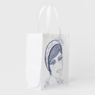 A Sweet Flapper in Dusky Blue Reusable Grocery Bags
