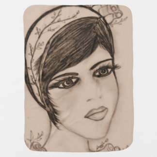 A Sweet Flapper in Sepia Baby Blanket