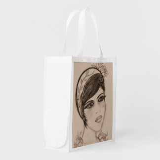 A Sweet Flapper in Sepia Reusable Grocery Bags