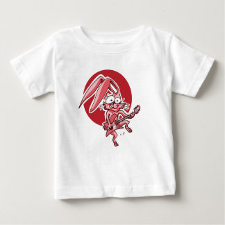 a sweet rabbit playing guitar funny cartoon baby T-Shirt