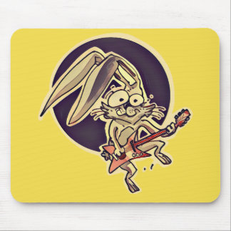 a sweet rabbit playing guitar funny cartoon mouse pad