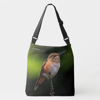 A Sweet Rufous Hummingbird Poses on the Fruit Tree Crossbody Bag