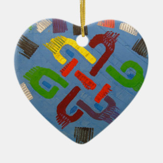 A symbol of success and good luck ceramic heart ornament