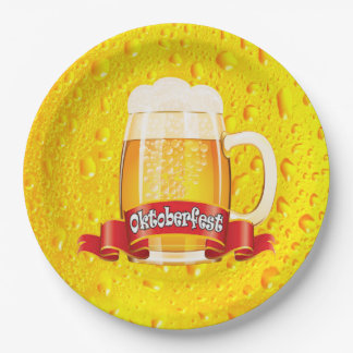 A Tall One Oktoberfest Party Paper Plates 9 Inch Paper Plate