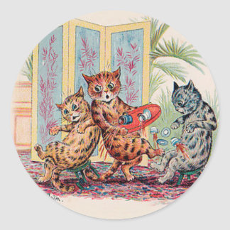 A Tea Party CATastrophe - Louis Wain's Cat Art Classic Round Sticker