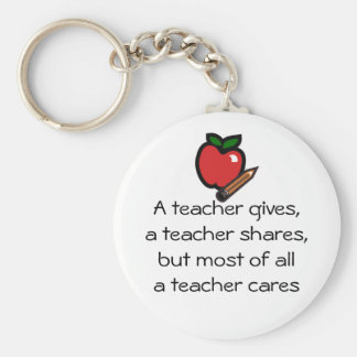 A teacher cares basic round button keychain