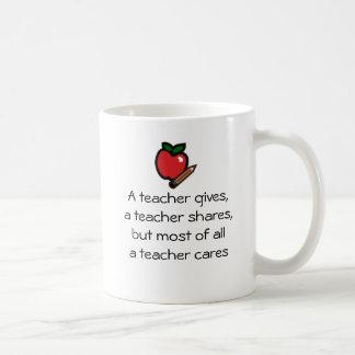 A teacher cares classic white coffee mug