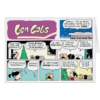 A TEN CATS Decorative Christmas Card! Card
