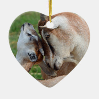 A Tender Moment Mother & Baby Goat Heart Ceramic Ornament