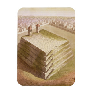 A Teocalli in Mexico (colour engraving) Rectangle Magnet