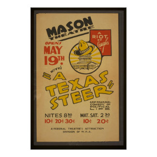 """""""A Texas Steer"""" At The Mason Theater Poster"""