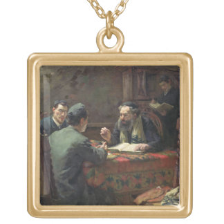 A Theological Debate, 1888 Gold Plated Necklace