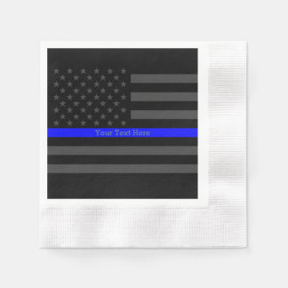 A Thin Blue Line US Flag Easily Personalized Paper Napkin