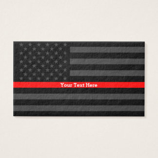 A Thin Red Line US Flag Personalized Accent Business Card
