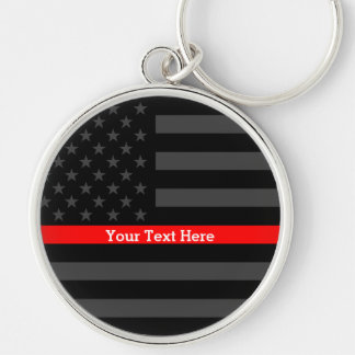 A Thin Red Line US Flag Personalized with Text Keychain