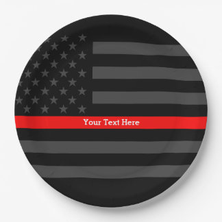 A Thin Red Line US Flag Your Own Personalized 9 Inch Paper Plate