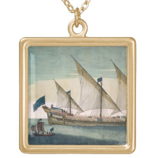 A three-masted Galleass under way by sail, oars sh Gold Plated Necklace