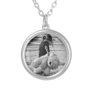 A time for a hug silver plated necklace