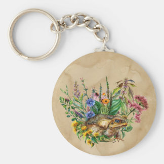A Toad Among The Flowers Keychain