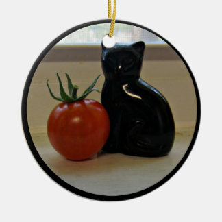 A Tomato and a Black Cat Ceramic Ornament