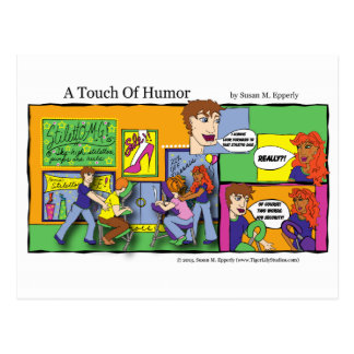 """A Touch of Humor"" Mall Chair Massage Comic Postcard"