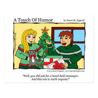 """""""A Touch of Humor"""" Massage Kitty Gift Certificate Postcard"""