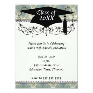 a touch of peacock damask design graduation personalized announcement