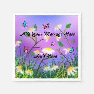 A Touch Of Spring Add Your Message Template, Paper Napkin