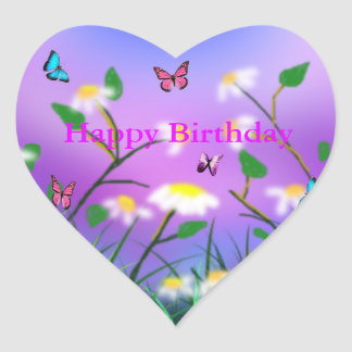 A Touch Of Spring,  Heart Happy Birthday Stickers. Heart Sticker