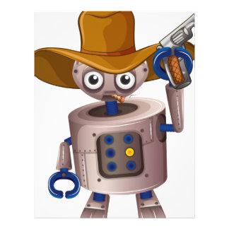 A toy robot holding a gun letterhead template