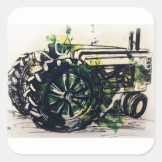 A Tractor! Square Sticker