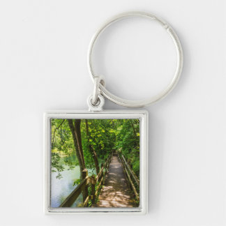 A Tranquil Hike Silver-Colored Square Keychain