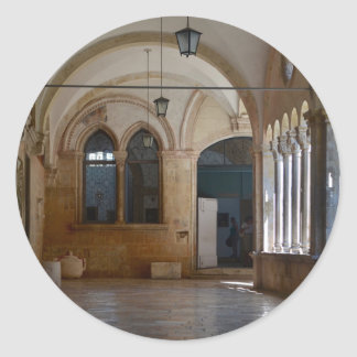 A Tranquil Monastery Cloister in Dubrovnik Classic Round Sticker