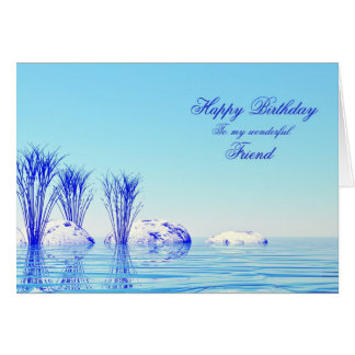 A tranquil scene birthday card for a friend