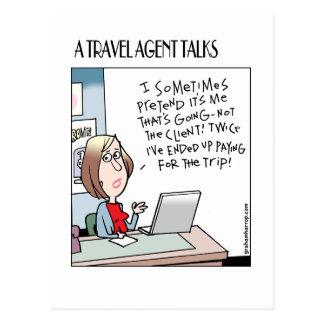 A Travel Agent talks cards Postcards