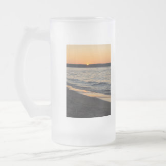 A Traverse Sunset Frosted Glass Beer Mug