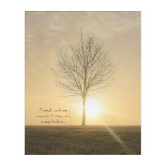 A Tree, Fog & a Sunrise with Beams of Light Acrylic Print