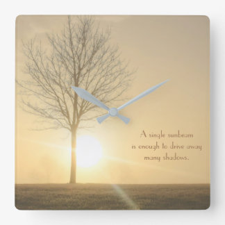 A Tree, Fog & a Sunrise with Beams of Light Square Wall Clock