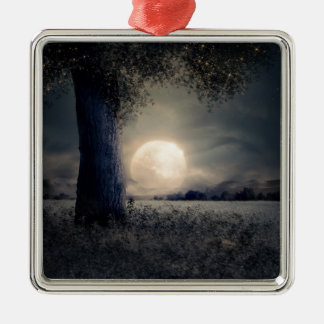 A Tree in the Moonlight Metal Ornament