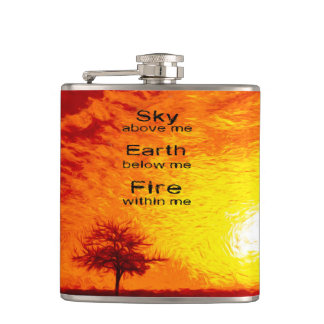 A Tree & Orange, Red & Yellow Sunset Sky-Vibran Hip Flask