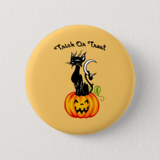 A Trick or Treat Cat 2 Inch Round Button