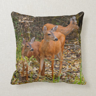 A Trio of Black-Tailed Deer Throw Pillow