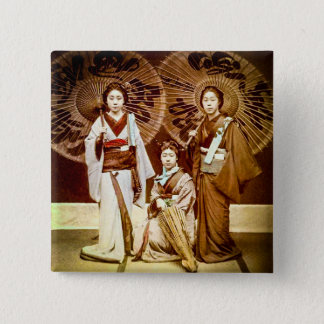 A Trio of Japanese Geisha in Old Japan Vintage 芸者 2 Inch Square Button