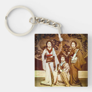 A Trio of Japanese Geisha in Old Japan Vintage 芸者 Keychain